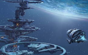 Picture space, stars, ship, planet, station, art