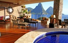 Picture sea, dream, water, mountains, design, furniture, view, interior, pool, mirror, beautiful, resort, sea, beautiful, water, …