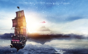 Wallpaper poster, ship, pirates, Jolly Roger, sea, fantasy, Pan: Journey to Neverland, adventure, Jolly Roger, Pan, ...