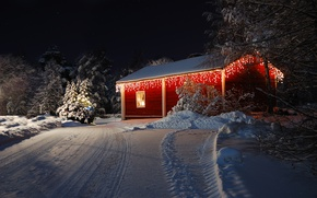 Wallpaper holiday, snow, Happy New Year, Christmas, winter, holiday, road, Happy New year, Merry Christmas, lights, ...