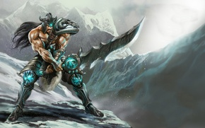 Wallpaper weapons, snow, mountains, Tryndamere, warrior, armor, league of legends, male, sword
