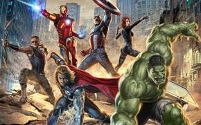 Picture fiction, the film, art, Hulk, Iron man, adventure, action, Captain America, superheroes, Thor, The Avengers, …