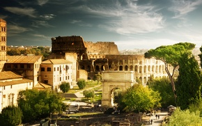Picture trees, people, home, Rome, Colosseum, Italy, architecture, Italy, Colosseum, Rome, arch of Constantine