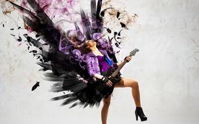 Picture girl, music, smoke, guitar, wings, rock