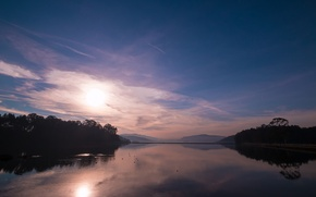 Picture forest, lake, dawn, hills, morning