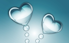 Picture abstraction, droplets, background, hearts