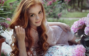 Picture eyes, look, flowers, photo, Girl, green, red, brown hair, Yulia Nosovets