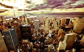 Picture the sky, clouds, the city, building, skyscrapers, the evening, beautiful, America, USA, new york, new …