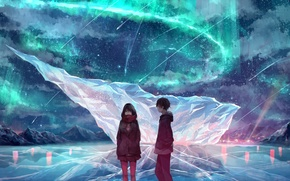 Picture winter, the sky, girl, mountains, night, nature, Northern lights, anime, art, guy, akira, mr. akira, …