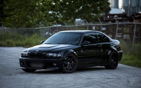 Wallpaper trees, reflection, black, black, bmw, BMW, coupe, the fence, wheels, drives, black, e46, tinted