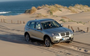 Wallpaper bmw x3, machine, sand