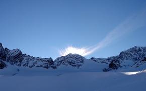 Picture Czech Republic, snow, mountains, Sumava, the sky, Sumava national Park