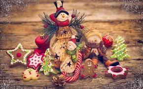 Wallpaper decoration, New Year, Christmas, snowmen, Christmas, Xmas, cookies, decoration, Merry