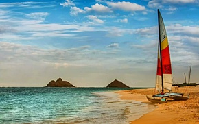 Wallpaper sea, the sky, yacht, sand
