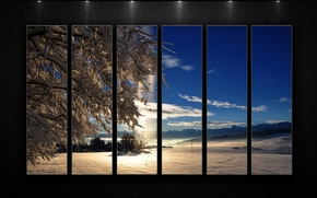 Picture the sky, the sun, clouds, light, snow, background, Winter, segment