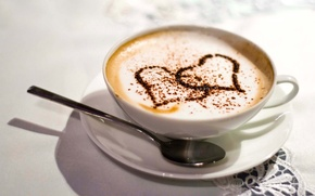 Wallpaper white, love, table, coffee, heart, spoon, Cup, tablecloth