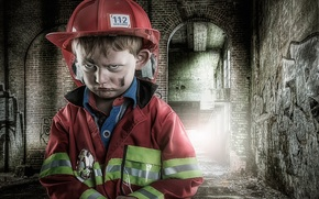 Picture portrait, boy, young fireman