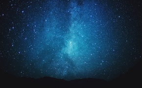 Picture stars, hills, Milky Way, silhouette
