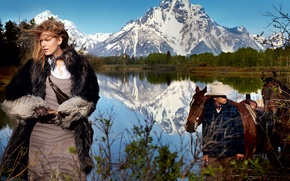 Wallpaper forest, landscape, mountains, nature, lake, hat, actress, horse, photographer, gloves, coat, cowboy, Wild West, journal, ...
