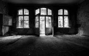 Wallpaper room, abandoned, black and white, background, picture, Wallpaper, different, house, mood, the room, photo