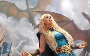 Picture girl, dragons, hands, A song of Ice and Fire, Daenerys Targaryen, Mother of Dragons, A …
