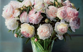 Picture vase, picture, bouquet, stems, Zbigniew Kopania, still life, peonies, pink