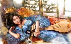 Picture girl, figure, fan, sleeping, bed, vikiey, sake, lute