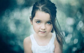 Wallpaper girl, look, bokeh, portrait