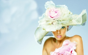Picture flower, look, girl, face, hat