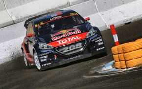 Picture Peugeot, Skid, Peugeot, Loeb, The front, 208, WorldRX