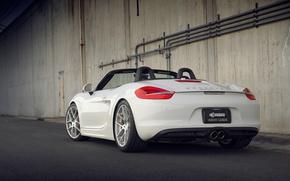 Picture white, Porsche, back, white, Porsche, Boxster S, 981