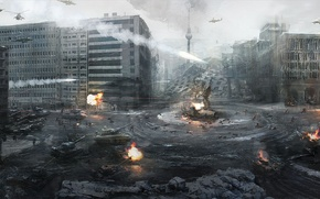 Picture the city, war, helicopters, Germany, tanks, Berlin, Call of Duty Modern Warfare 3, the third …