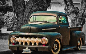 Picture retro, classic, pickup, the front, pickup