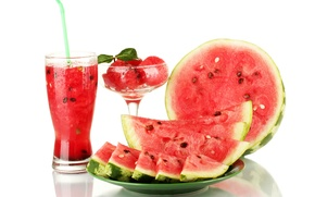 Picture drops, red, glass, watermelon, juice, plate, white background, vase, tube, seeds, slices
