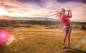 Picture girl, sport, blow, Golf