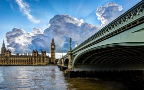 Picture bridge, the city, river, London, HDR