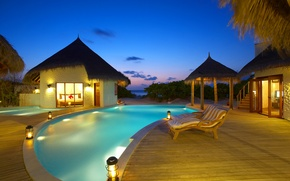 Picture sea, bed, the evening, pool, houses, the Maldives, pool, sunbeds, sand.