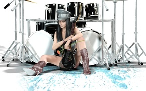 Wallpaper different, style, girl, guitar, drums