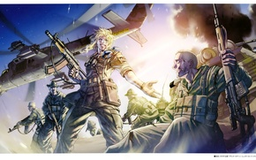 Picture the explosion, Black Lagoon, machine, helicopter, binoculars, camouflage, landing, equipment, mercenaries, wounds, Pirates of the …