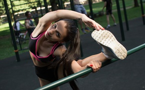 Wallpaper warm-up, exercise, girl, Playground, sports