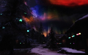 Picture stars, snow, trees, Northern lights, houses, lights night