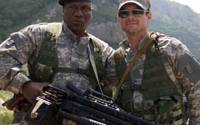 Wallpaper landscape, mountains, weapons, glasses, soldiers, machine gun, form, cap, camouflage, action, takes, Christian Slater, Wing ...