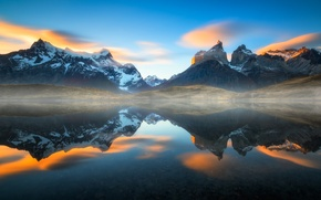 Picture reflection, lake, haze, Chile, South America, Patagonia, the Andes mountains