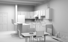 Picture design, style, room, furniture, interior, kitchen, light background, the project