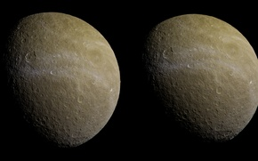Picture satellite, second, Rhea, Saturn, largest, Ray