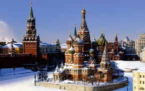 Wallpaper St. Basil's Cathedral, Pokrovsky Cathedral, snow, Moscow, winter, the Kremlin