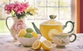 Picture flowers, table, tea, kettle, window, Cup, vase, bowl, lemons