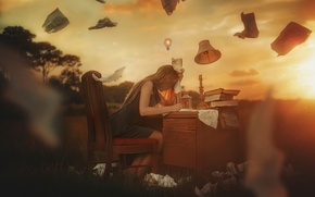 Picture girl, paper, table, fantasy, TJ Drysdale