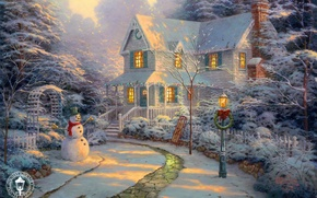 Wallpaper sunset, house, holiday, track, lantern, snowman, painting, Christmas, cottage, sled, sunset, winter, Thomas Kinkade, painting, ...
