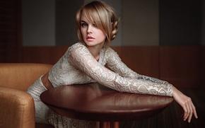 Picture Girl, Chair, Look, Table, Lips, Face, Hair, Portrait, Anastasia Shcheglova